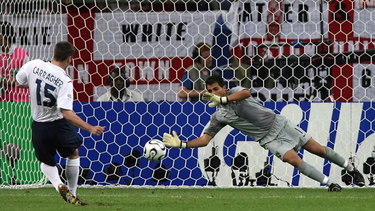 Jamie Carragher's penalty was saved by Portuguese goalkeeper Ricardo as England were eliminated from the 2006 World Cup