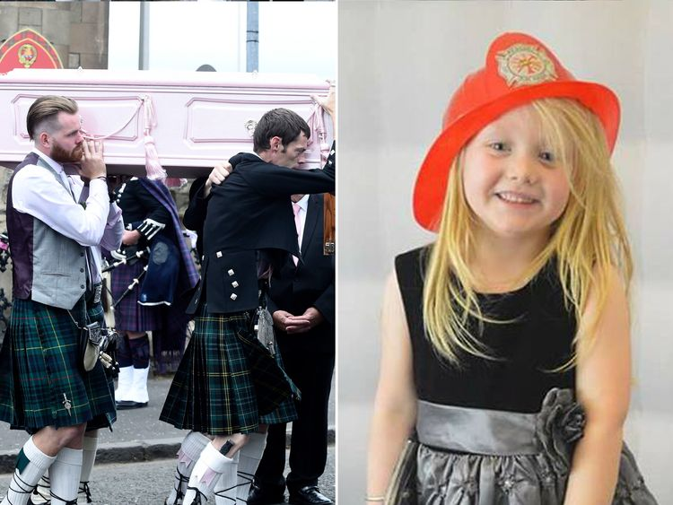 The funeral of six-year-old Alesha MacPhail, whose body was found on the Isle of Bute