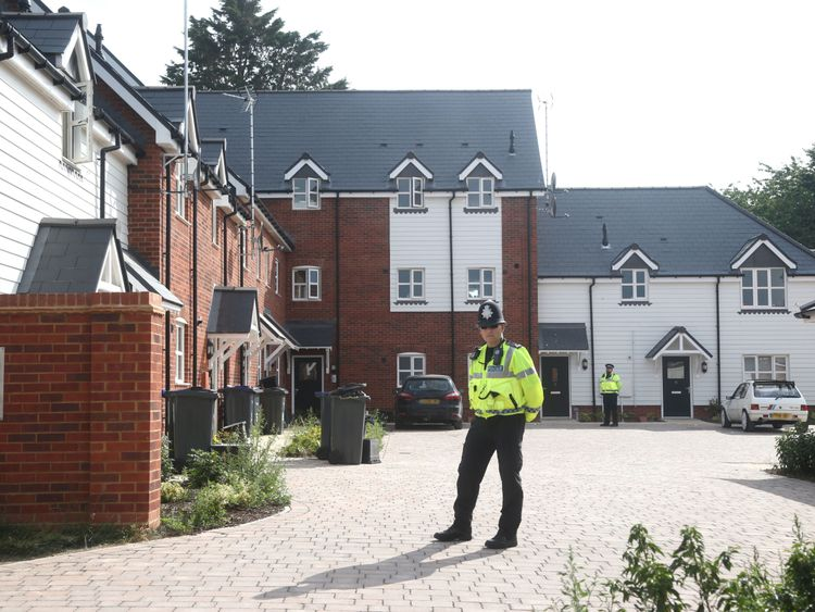 EDITORS NOTE: NUMBER PLATES PIXELLATED BY PA PICTURE DESK Police activity outside a block of flats on Muggleton Road in Amesbury, Wiltshire, where a major incident has been declared after it was suspected that two people might have been exposed to an unknown substance. PRESS ASSOCIATION Photo. Picture date: Wednesday July 4, 2018. Police say that the man and woman, both in their 40s, are in a critical condition at Salisbury District Hospital. See PA story POLICE Amesbury. Photo credit should rea