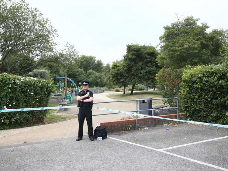 Crime scene investigators at Queen Elizabeth Gardens in Salisbury