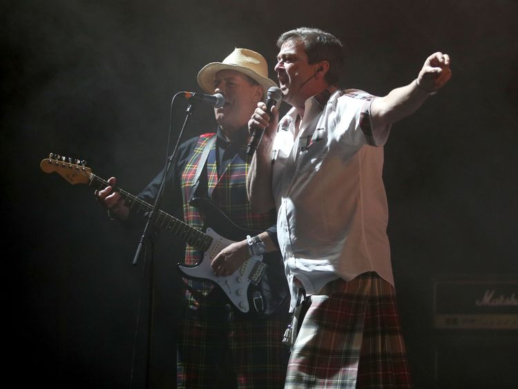 Alan Longmuir (left) and Les McKeown, also of the Bay City Rollers, performing at T in the Park in 2016