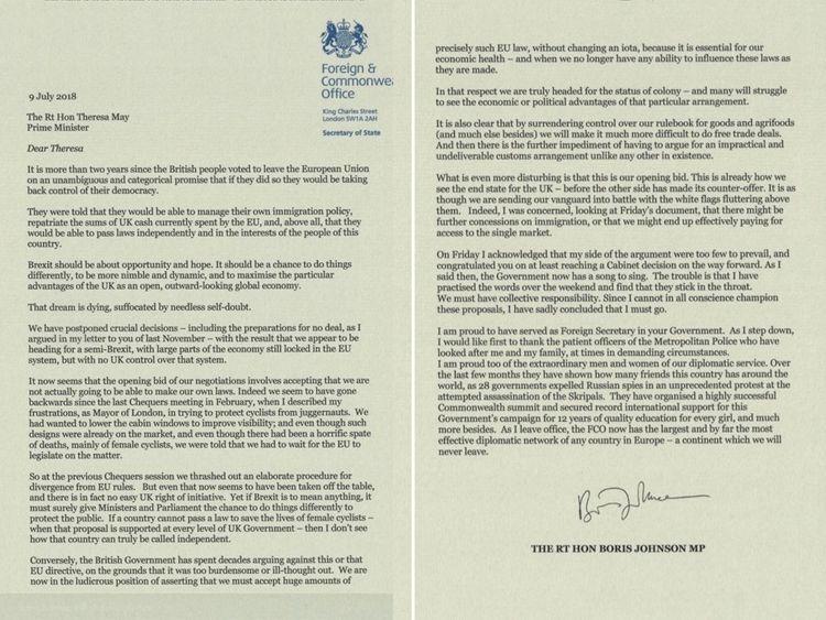 Boris Johnson's resignation letter... and the prime ...
