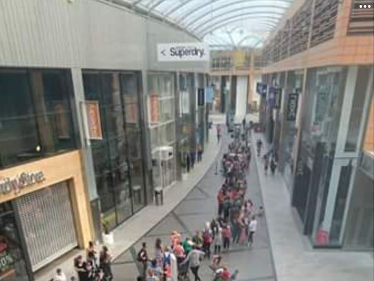 A huge queue formed at 8am in West Lothian,  Scotland. Pic: Greg Robertson