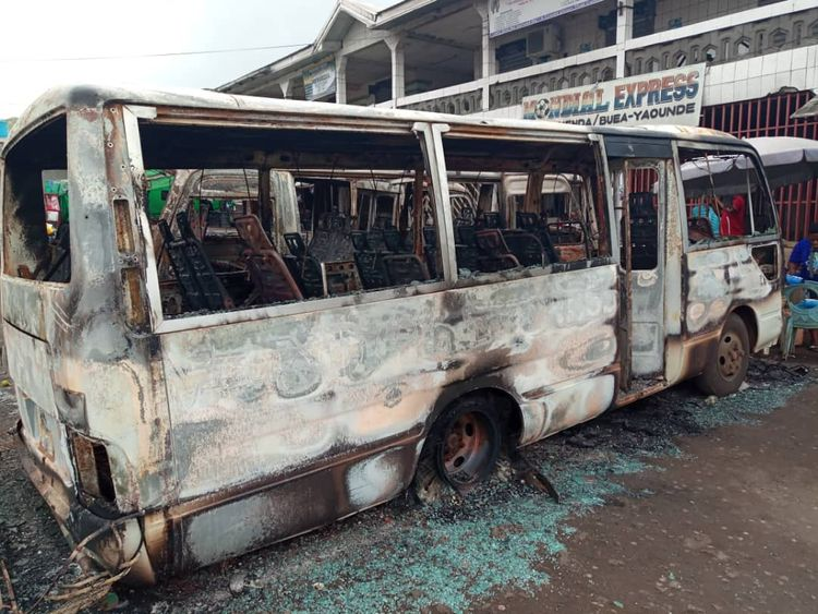 Burned busses at the bus terminal in Buea after gunfire