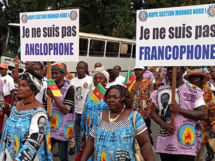 "Demonstrators carry banners as they take part in a march reading: ""I am not Francophone.""(R), ""I am not Anglophone"" (L)"