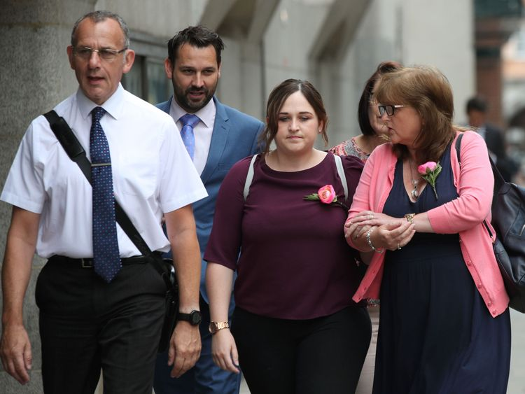 Ms Brown's father Graham, sister Katie and mother Roz Wicken, right, arriving at the Old Bailey during the trial