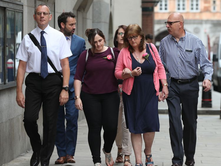 File photo dated 20/07/2018 of the family of Charlotte Brown (left to right) father Graham Brown, sister Katie and mother Roz Wicken. Web developer Jack Shepherd has been found guilty of killing her in a speedboat accident on the Thames. PRESS ASSOCIATION Photo. Issue date: Thursday July 26, 2018. Jack Shepherd had been trying to impress 24-year-old Charlotte Brown after meeting her on dating website OkCupid. But their champagne-fuelled first date ended in tragedy when his boat capsized and she