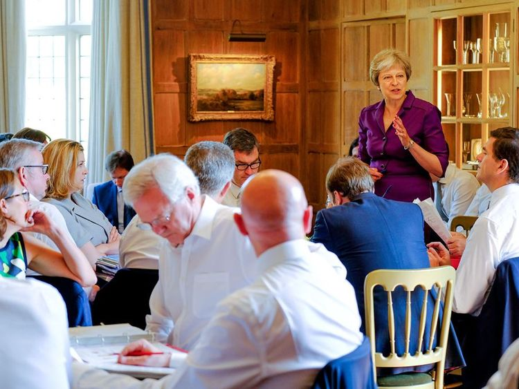 Theresa May speaking to the cabinet during crunch Brexit talks at Chequers. Pic: Crown Copyright