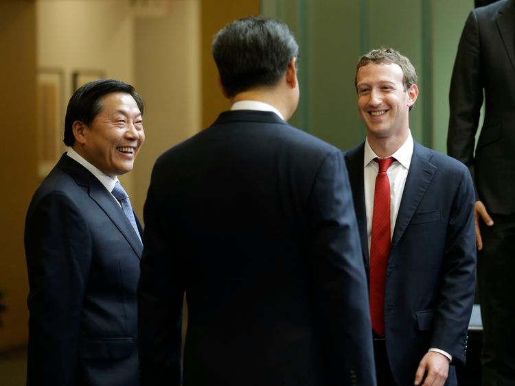 REDMOND, WA - SEPTEMBER 23: Chinese President Xi Jinping (C) talks with Facebook Chief Executive Mark Zuckerberg (R) as Lu Wei, China's Internet czar, looks on during a gathering of CEOs and other executives at the main campus of Microsoft Corp September 23, 2015 in Redmond, Washington. Xi and top executives from U.S. and Chinese companies discussed a range of issues, including trade relations, intellectual property protection, regulation transparency and clean energy, according to published rep