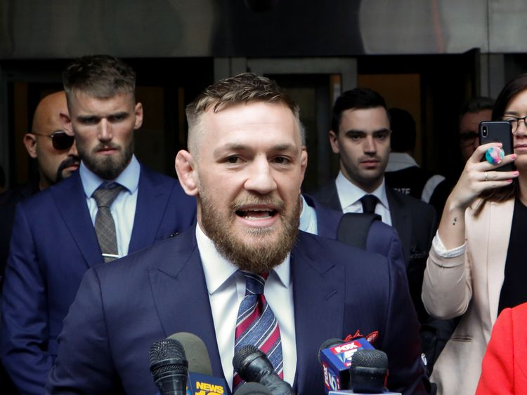 MMA-UFC/MCGREGORRTX6CWKB26 Jul. 2018Brooklyn, UNITED STATESMixed martial arts (MMA) fighter Conor McGregor speaks to the media as he exits the court after appearing in the Brooklyn court on charges of assault stemming from a melee, in the Brooklyn borough of New York City, U.S., July 26, 2018. REUTERS/Eduardo Munoz