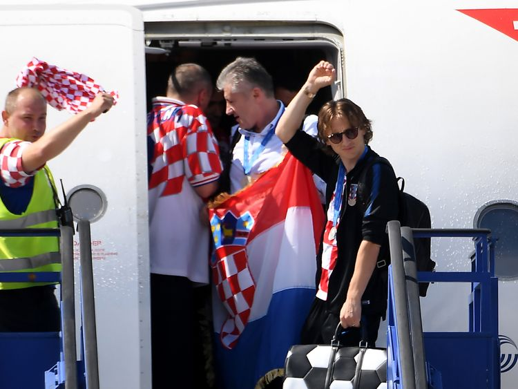 Luka Modric touches down in Zagreb along with the rest of the team