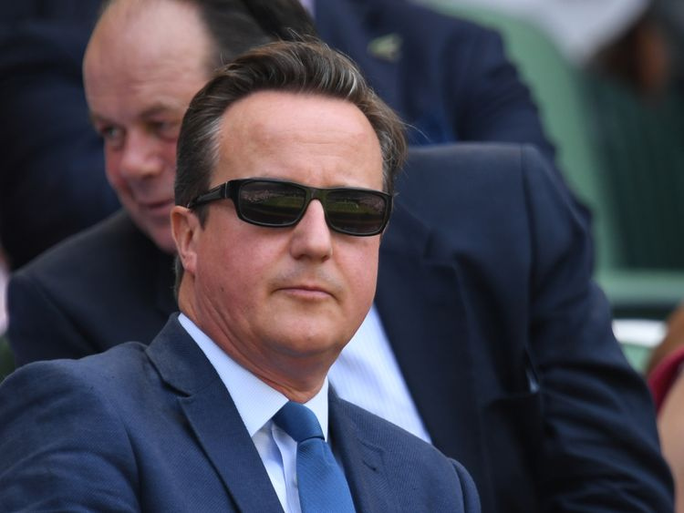 David Cameron was spotted enjoying himself at Wimbledon on Friday