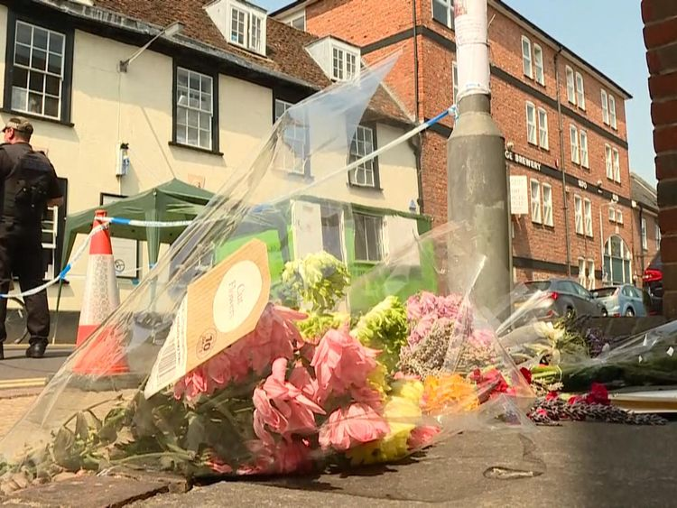 Flowers for Dawn Sturgess, who died after being exposed to novichok