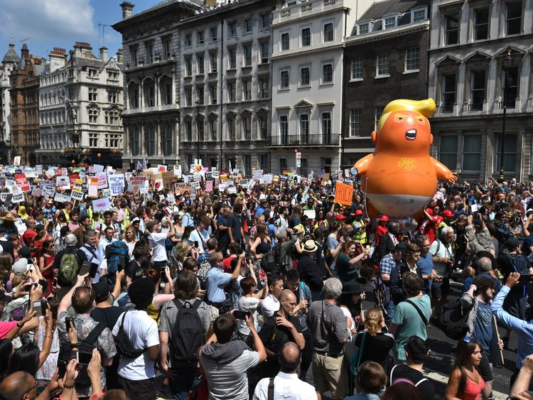 Demonstrators with the 'Trump Baby' balloon in Westminster