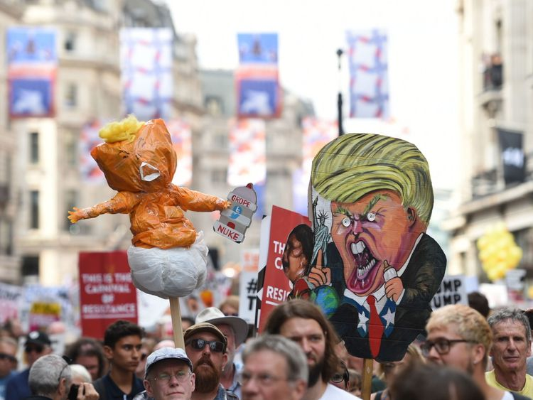Trump protesters in London