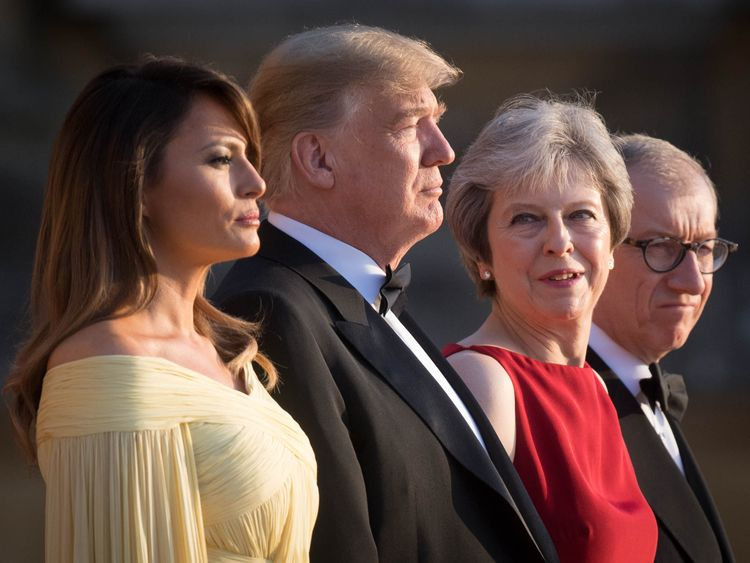 US President Donald Trump and his wife Melania are welcomed by Prime Minister Theresa May