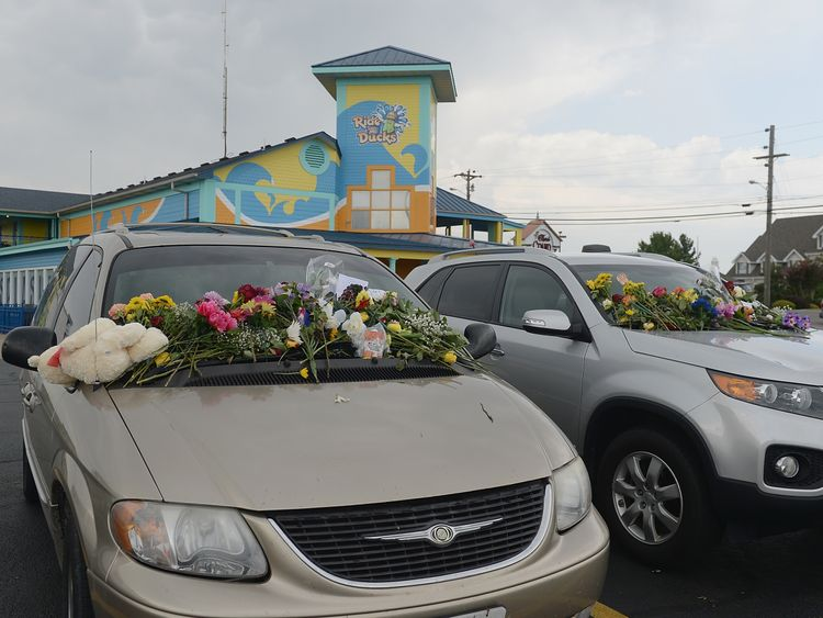 Flowers were left on cars outside the duck boat tour office