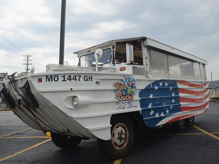 A duck boat parked up near the lake the day after the tragedy
