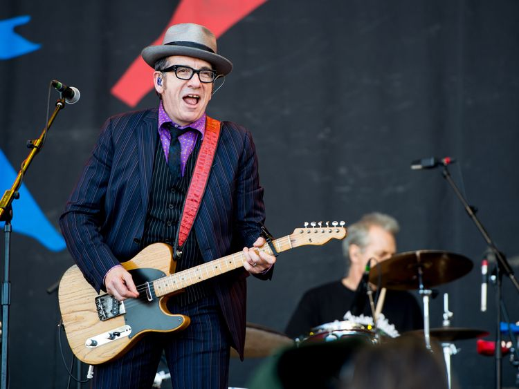 Elvis Costello performing on the Pyramid Stage at Glastonbury Festival , 2013