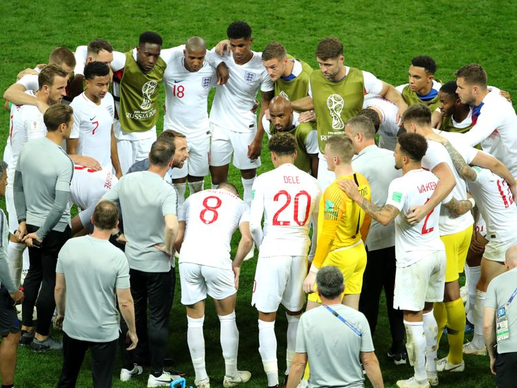 England players form a huddle before extra time during the 2018 FIFA World Cup Russia Semi Final match between England and Croatia at Luzhniki Stadium on July 11, 2018 in Moscow