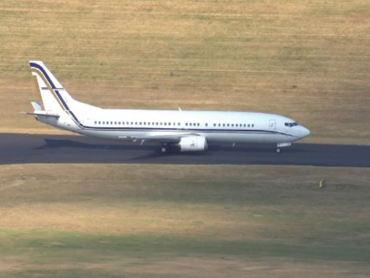 The England team plane arrives back at Birmingham Airport