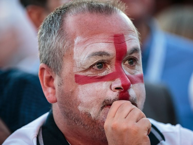 England football fans watch the Hyde Park screening of the FIFA 2018 World Cup semi-final match between Croatia and England on July 11, 2018 in London, United Kingdom.The winner of this evening's match will go on to play France in Sunday's World Cup final in Moscow. Up to 30,000 free tickets were available by ballot for the biggest London screening of a football match since 1996