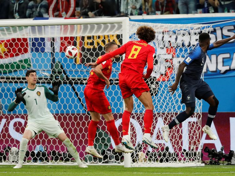 Samuel Umtiti fires France into the lead against Belgium