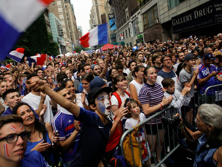 French fans gather as they watch the World Cup final match between France vs Croatia on July 15, 2018 in New York. - The World Cup final between France and Croatia in Moscow brings the curtain down on a month-long festival of football that has changed perceptions of the host country while also giving hope to the underdog on the field. (Photo by KENA BETANCUR / AFP) (Photo credit should read KENA BETANCUR/AFP/Getty Images)
