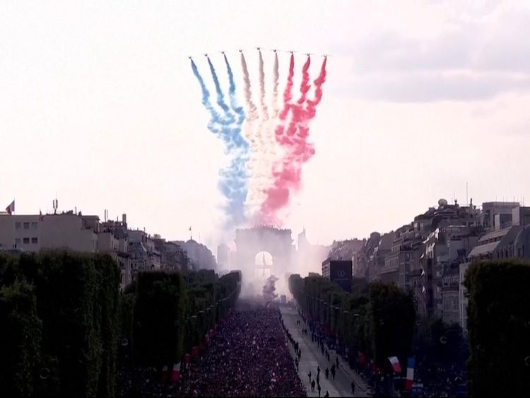 The Patrouille de France trailing blue, white and red smoke
