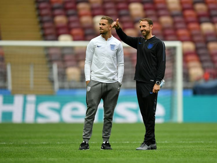 Gareth Southgate and Jordan Henderson attend an England pitch inspectio