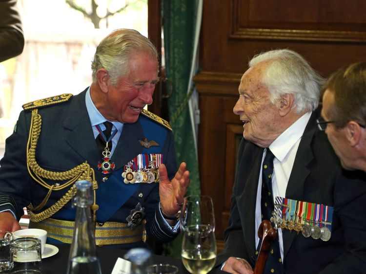 Prince Charles with Geoffrey Wellum at the Battle of Britain 77th anniversary dinner