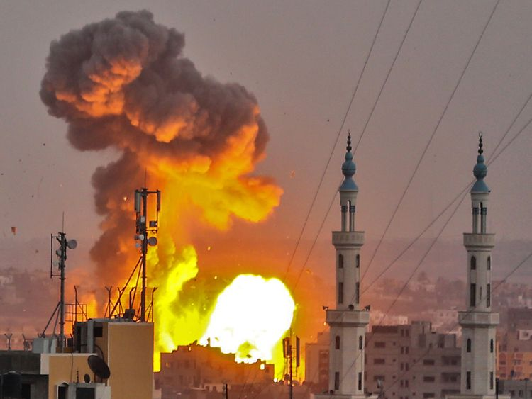 A picture taken on July 20, 2018 shows a fireball exploding in Gaza City during Israeli bombardment. - Israeli aircraft and tanks hit targets across the Gaza Strip on July 20 after shots were fired at troops on the border, the army said, with Hamas reporting several members of its military wing killed in the latest flare-up in months of tensions