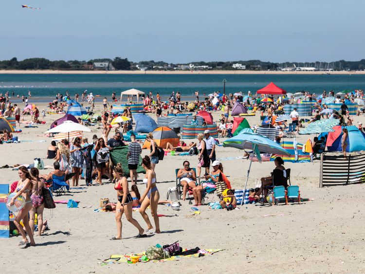 West Wittering beach in Chichester was busy as the school holidays got underway on Monday