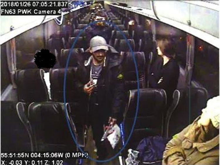Imran Muhammad was seen on CCTV on a coach in Glasgow after the murder