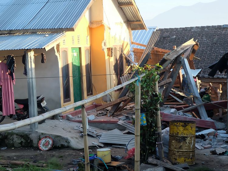 A damaged house following an earthquake in Lombok