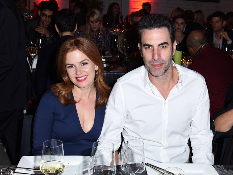 Isla Fisher and Sacha Baron Cohen attend the 2017 Los Angeles Dance Project Gala on October 7, 2017 in Los Angeles, California