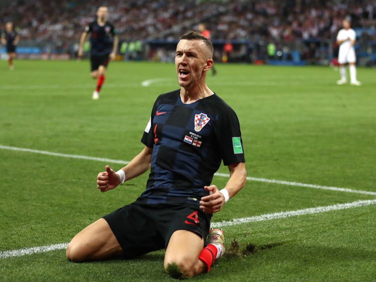 Croatia's Ivan Perisic celebrates scoring