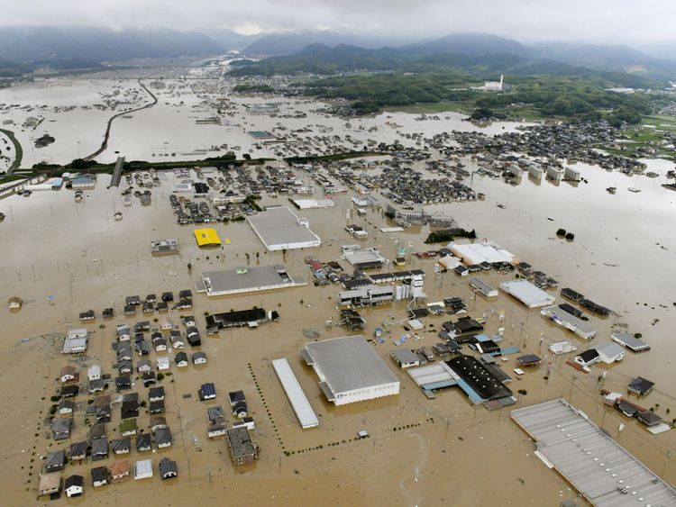 Kurashiki submerged in the south of Japan