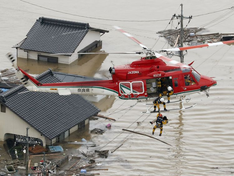 Rescue helicopters have been moving people to safety