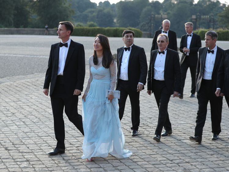 Jeremy Hunt and wife Lucia at Blenheim Palace for Donald Trump visit
