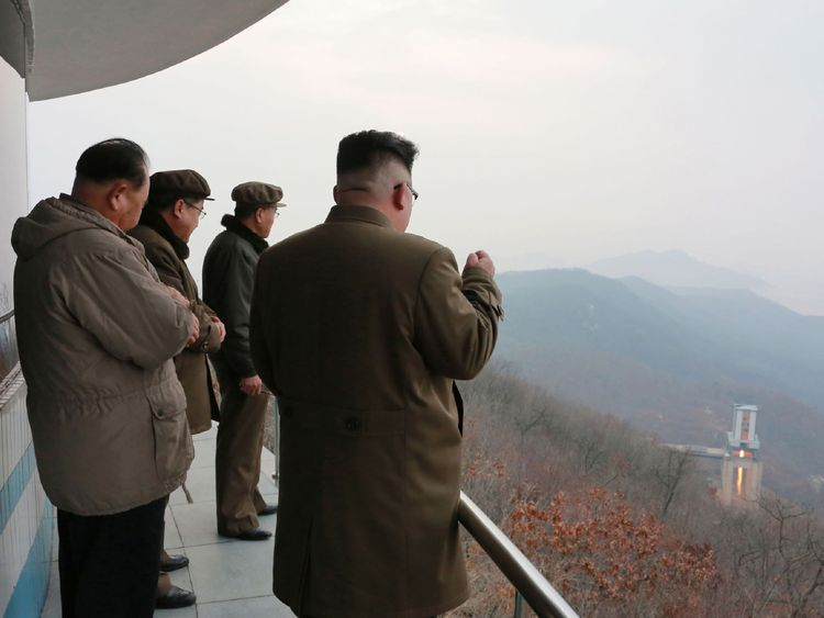 Kim Jong Un inspects the jet test of a newly-developed high-thrust engine at the Sohae Satellite Launching Station