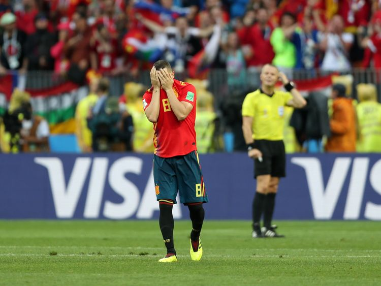 A dejected Koke pictured after missing Spain's third penalty