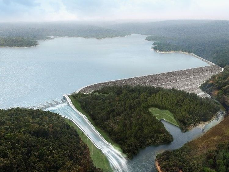 A computer-generated image of a dam being built in Laos by Xe Pian Xe Namnoy Power Company