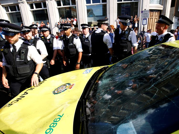 CCTV appeal after England fans damage taxi