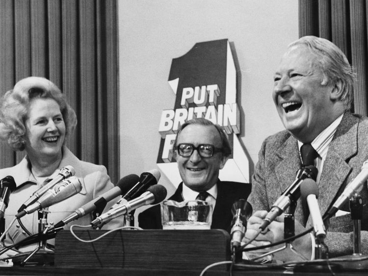 Lord Carrington with Conservative Party prime ministers Margaret Thatcher and Edward Heath at an election meeting in 1974