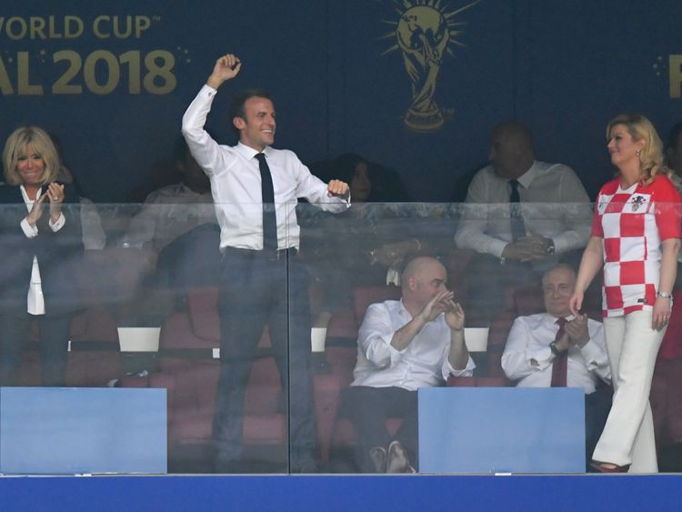 MOSCOW, RUSSIA - JULY 15: French President Emmanuel Macron celebrates after his team's fourth goal during the 2018 FIFA World Cup Final between France and Croatia at Luzhniki Stadium on July 15, 2018 in Moscow, Russia. (Photo by Dan Mullan/Getty Images)