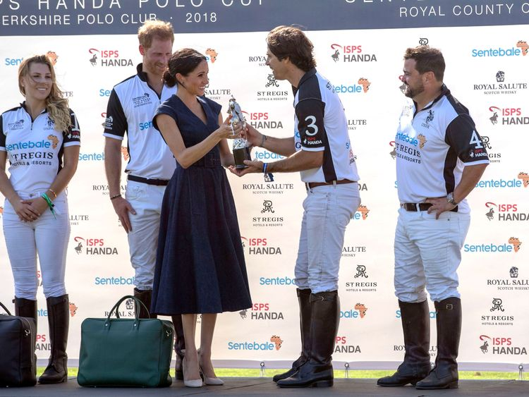 Meghan was greeted by Sentebale ambassador and polo player Nacho Figueras
