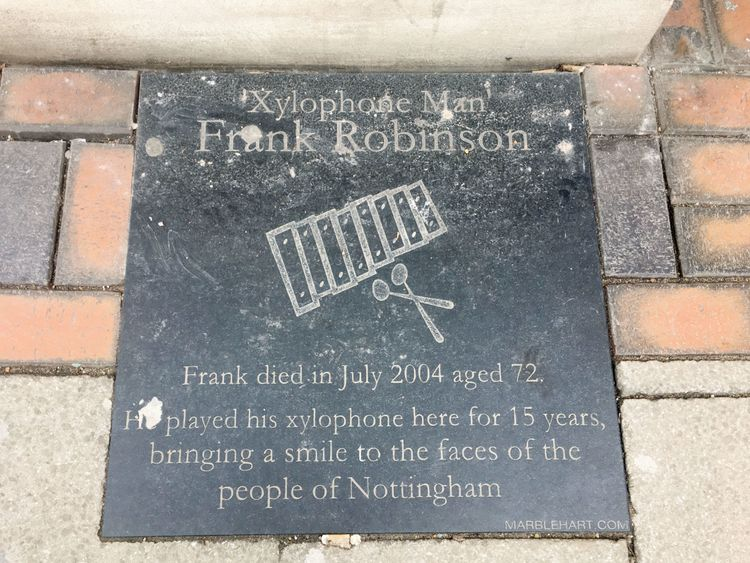 A memorial to 'The Xylophone Man' in Nottingham