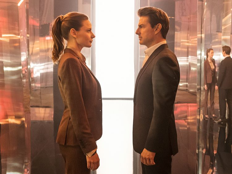 Rebecca Ferguson as Ilsa Faust and Tom Cruise as Ethan Hunt
