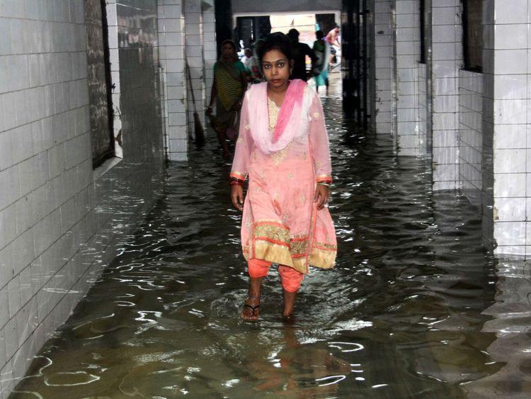 Rain has flooded hospitals and public building across India